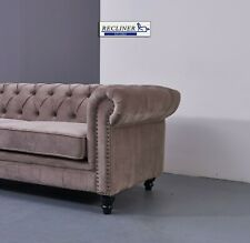 Chesterfield Sofa Beige Velvet 2 Seater Fabric upholstered Sofa - Lounge.