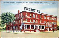 1939 Linen Postcard: Fox Hotel - Austin, Minnesota MN