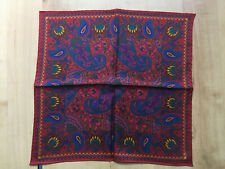 Macclesfield Silk Hand Printed Red & Blue Paisley Silk Pcket Square