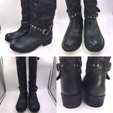Dune Size 6 39 Black Leather Knee High Biker Boots Womens Rockchick Studs