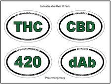 OS420-pack - Cannabis Mini Oval ID Pack - THC CBD DAB 420 marijuana weed sticker