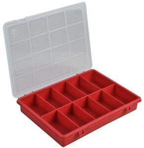Duratool 10 Compartment Organiser Box, Red - 35mm x 240mm x 180mm Pack of 5