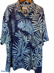 Tommy Bahama Mens Size 3X Large 100%  Silk Blue and White Leaves Short Sleeve