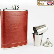 Hip Flask 8oz Gift Set Stainless Steel Rust Leather Flask 2 Cups and Funnel