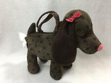Gymboree Lots Of Dots Brown Plaid Polka Dot Plush Puppy Dog Purse Bag