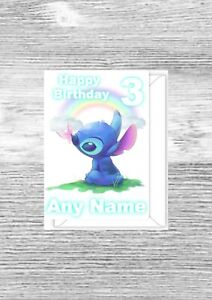 Personalised Lilo and Stitch birthday card, any name, any age