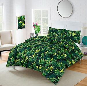 CANNABIS WEED DUVET SET QUILT COVER MARIJUANA Top Quality Fabric Free Post UK