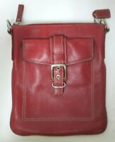 Coach Vintage red saddle Leather front Buckle Pocket Zip Top Purse ONLY NO STRAP