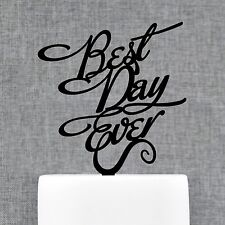 Calligraphy Best Day Ever Wedding Cake Topper by Chicago Factory- (S048)
