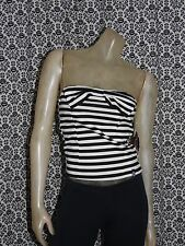 5th Harmony B&W Striped Strapless Tube Top Shirt Blouse Womens Juniors LARGE NEW