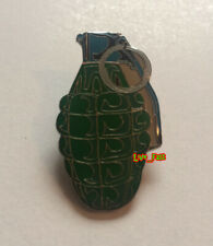 biker jacket punk rock battle jacket Hand Grenade Lapel Pin war veteran