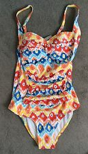 MOONTIDE COLOURFUL PATTERNED SWIMSUIT WITH PADDED CUPS & ROUCHING - SIZE 8- BNWT