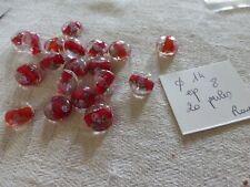 lot  de 20 perles vintage façon murano en verre ronde aplatie rouge rose