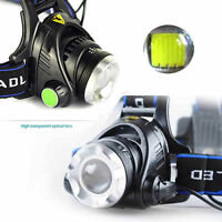 20000LM Zoomable XM-L XML T6 LED 18650 Tactical HeadLamp HeadLight Adjustable