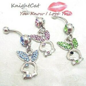 UK Playboy bunny crystal diamanté dangle dangly belly bar gold silver pink blue