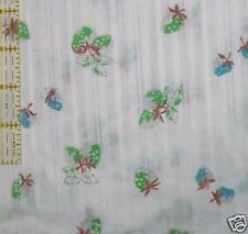 VTG 70s Strawberry fabric white blue green HIPPY MOD BTY 1 yard apparel