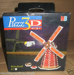 MB Puzzle 3D MINI puzz3d Windmill IN Wind Netherlands Holland 67 Pieces Pcs