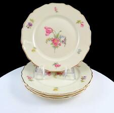 """ROSENTHAL CONTINENTAL IVORY GERMANY 4 PC FLORAL & GOLD 6"""" BREAD & BUTTER PLATES"""