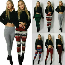 Womens Knitted Winter Colourful Legging Soft Warm Pant Christmas Xmas Gift 8-14