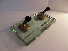 Vintage Sheaffer Fountain Pen Jade Plate Glass Desk Set No Pens