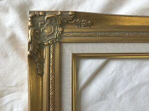 "Picture Frame 11x14"" Ornate Gold Color, White Linen Liner- Wood/Gesso- 637G"