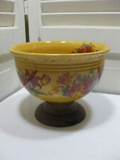 Vintage Yellow & Red Floral Pottery Serving Bowl With Round Wood Pedestal Base