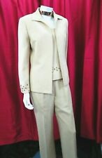Tahari Arthur s. Levine women's camel beige Blazer top & pant 3pc suit US 6 UK10