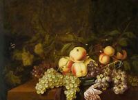 Oil painting bartholomeus assteyn - peaches grapes in porcelain bowl butterfly
