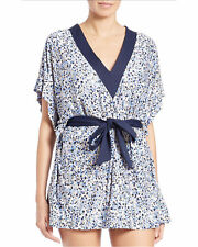 MICHAEL KORS V-Neck Floral Cover Up Tunic New Navy Sz XS/S (K28)