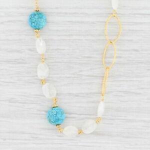 New Nina Nguyen Floral Turquoise Quartz Bead Necklace Sterling Gold Vermeil Long