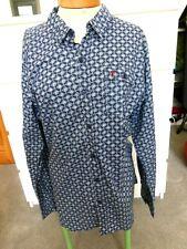 Onfire shirt, blues/white geometric, long sleeve, size XXL, NEW