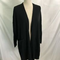 Pure J Jill Cardigan Open Front Black Long Sleeve Slit Sides Pockets Medium