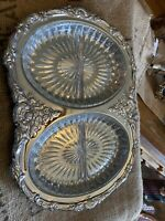 """Oval Dbl Dish Serving TRAY Metal Chrome Plated Shelton Ware 17"""" X 12"""" New In Box"""