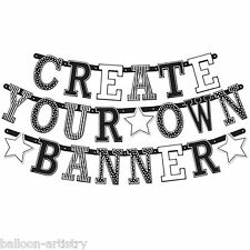 Classic Black & White Happy Birthday Party Build Your Own Custom Letter Banner