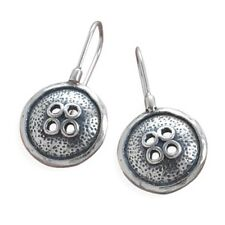 .925 STERLING SILVER BUTTON DESIGN DANGLE HOOK EARRINGS