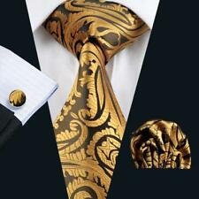 New Classic Gold Men's Tie Sets Jacquard Woven Silk Brown Necktie Party Wedding