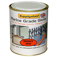 Supplyshed GLOSS BRIGHT RED GARAGE DOOR PAINT for Fibreglass and Metal 750ml