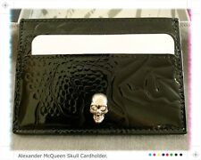 Alexander McQueen Black Patent Leather 'Skull' Card Holder -100% AUTHENTIC! NEW!