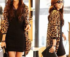 Leopard Coat Print Batwing Sleeve Cape Tunic Chiffon Cardigan Lady Tops Shawl