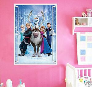 Elsa Anna Frozen Wall Sticker Art Kids Childrens room Large olaf