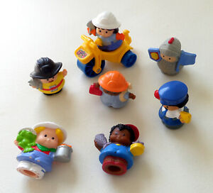 7 Fisher Price Little People Worker Figures - Construction Worker, Fire Chief