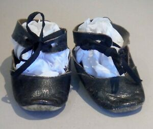 """Antique Doll Shoes Black Leather with Ankle Strap Sorosis 3"""" x 1 1/8"""" P1615"""
