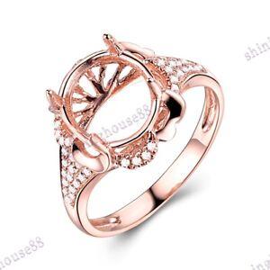 18K Rose Gold Filigree Retro Ring Semi Mount 11x9mm Oval Diamonds Fine Jewelry
