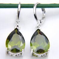 Water Drop Shaped Natural Olive Peridot Gemstone Silver Dangle Hook Earrings
