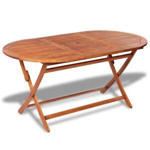 Oval Dining Table Wood Outdoor Folding Portable Wooden Garden Indoor Hardwood