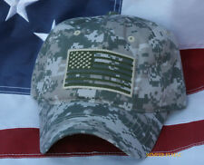 USA SCRIPT FLAG HAT EMBROIDERED OD GREEN DIGITAL CAMOUFLAGE CAP PIN UP VETERAN