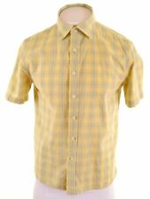 DOCKERS Mens Shirt Shorts Sleeve Medium Yellow Check Cotton  BH12
