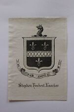 ✒ EX LIBRIS Stephen Herbert Knocker - armorié