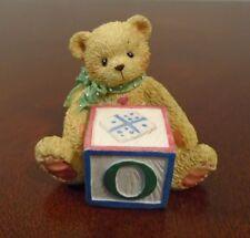 Cherished Teddies Alphabet Block Letter O Figurine 1995 Priscilla Hillman Enesco