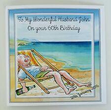 Large Personalised Husband 60th Birthday Card Grandad Beach 40th 50th 70th Beer